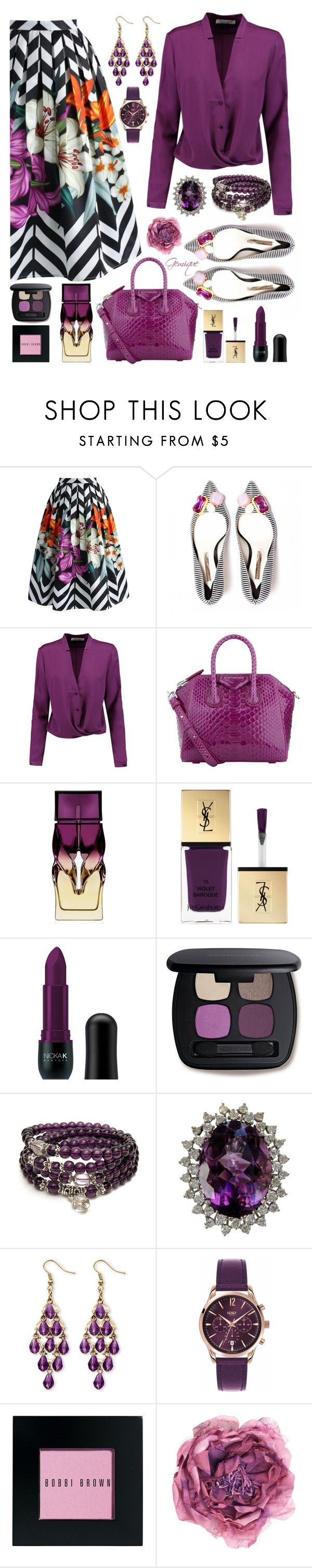 """Plum Yummy!"" by gemique ❤ liked on Polyvore featuring Chicwish, Halston Heritage, Givenchy, Christian Louboutin, Yves Saint Laurent, Nicka K, Bare Escentuals, Palm Beach Jewelry, Henry London and Bobbi Brown Cosmetics"
