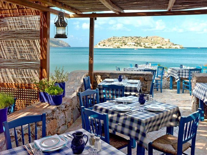 Enjoy Greek Food in Crete with Spinalonga islet View. Agios Nikolaos, Crete, Greece