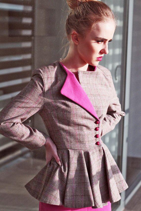 Women slim fit plaid jacket peplum jacket women by JolyDagmara
