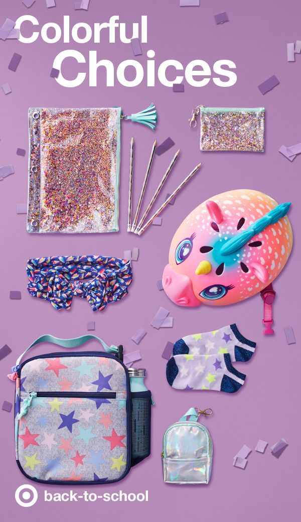 Get creative and colorful with this year's school supplies. Rainbow colors take a starring role on this Cat & Jack backpack with matching jacket and insulated zipper lunch kit. Every color of the rainbow covers every supply here, including the rainbow sparkle pencil case, Yoobi hologram pencils, and a glittery binder zip case. Top it all off (magically) with a rainbow unicorn bike helmet and your Target Little(s) are ready to go back to school!