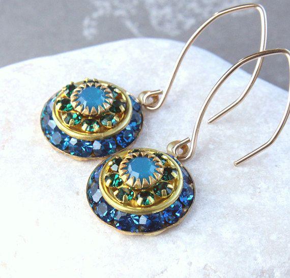Blue Swarovski Earrings Vintage Crystal Earrings Swarovski