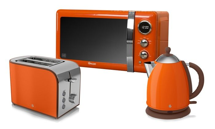 Orange kettle and toaster