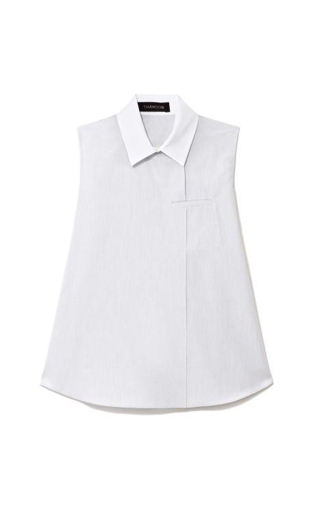Shop Sleeveless Cotton Shirt With White Collar by Thakoon Now Available on Moda Operandi