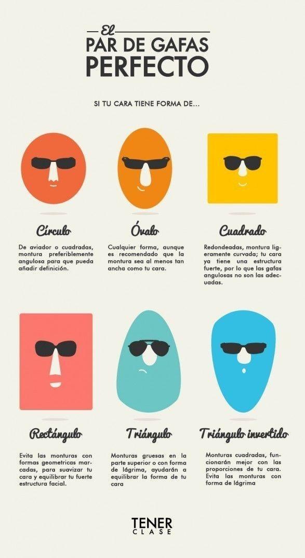 Esta guía te ayudará a encontrar el par de gafas perfecto acorde a la forma de tu rostro.   18 Guías visuales de estilo que toda mujer necesita en su vida