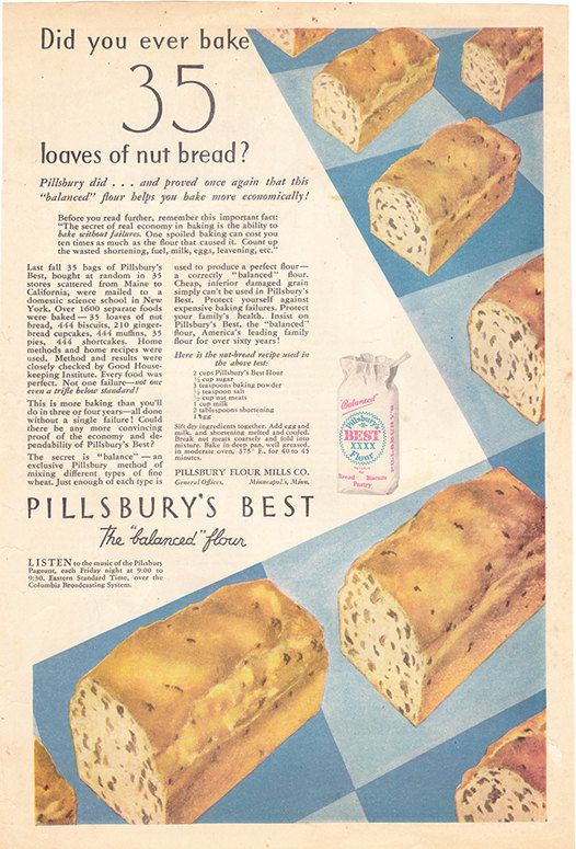 1932 ad Pillsbury's Best Flour nut bread recipe