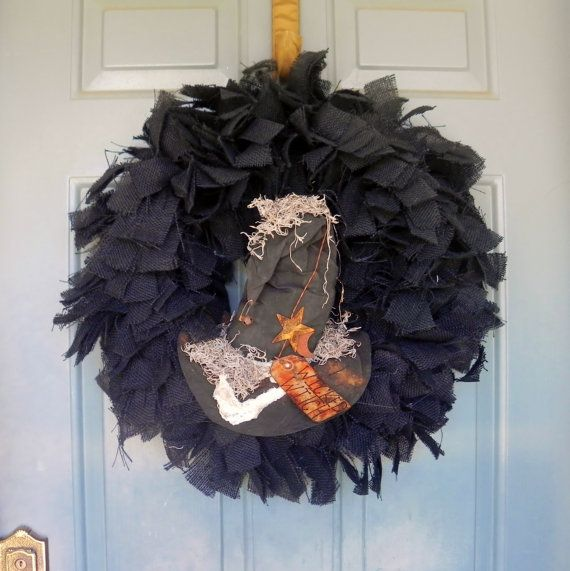 Makes me think of Memie Pearl. Burlap Halloween Wreath Wicked Witch Hat  Swamp by RedRobynLane, $65.00