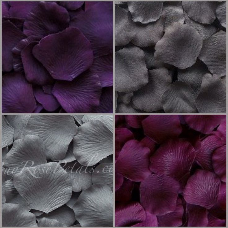 Plum, Eggplant, Slate And Pewter Silk Rose Petals Will Match Your Plum And  Grey.