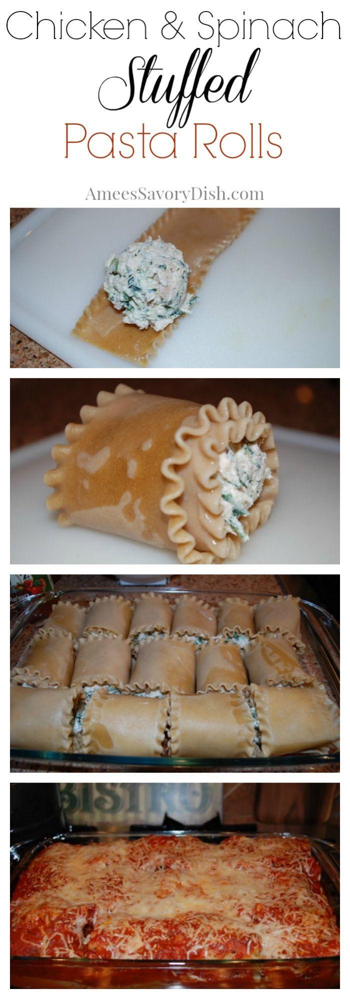 Chicken and Spinach Stuffed Pasta Rolls recipe