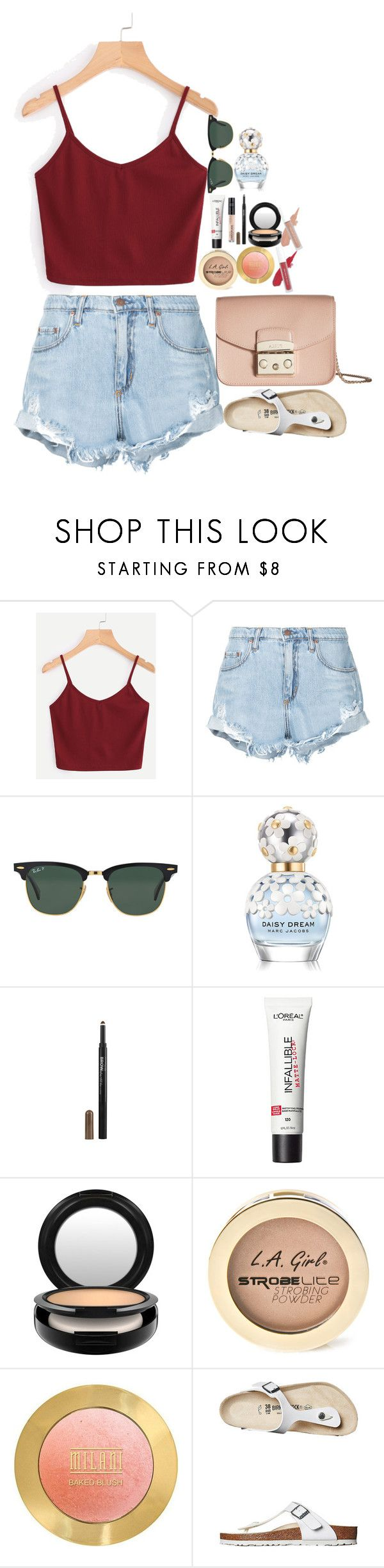 """""""Untitled #4909"""" by veronicaptr ❤ liked on Polyvore featuring Nobody Denim, Ray-Ban, Marc Jacobs, Maybelline, MAC Cosmetics, L.A. Girl, Birkenstock and Furla"""