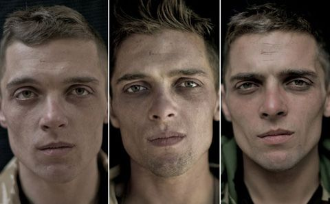 Portraits of soldiers before, during, after going to Afghanistan