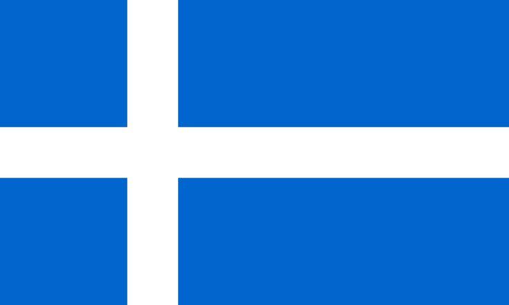 Flag of Shetland. Øygruppen består av 15 bebodde og 85 ubebodde øyer som strekker seg 150 km fra nord til sør og 75 km fra øst til vest.   Den største øya er Mainland, hvor også Lerwick ligger, øygruppens administrasjonssenter og eneste by. Øygruppen har et areal på 1462 km² og en befolkning på 21 988. Nærmeste by på fastlandet er Bergen (350 km).