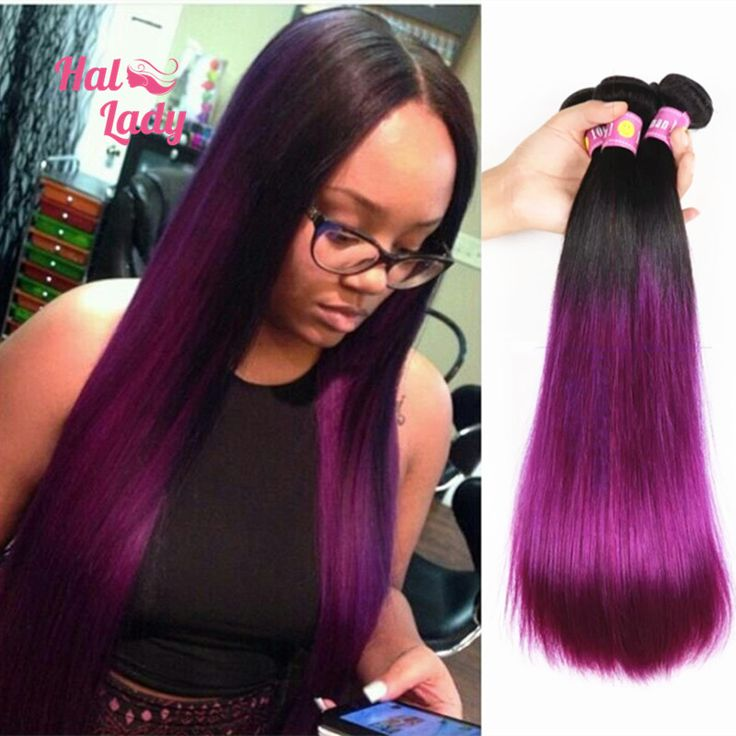 7a Purple Straight Hair Weaves 3 Bundles Lot 2 Two Tone Ombre Color 1b
