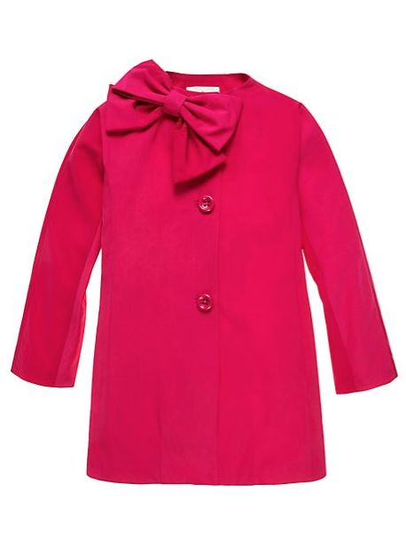 our girls' water repellent dorothy rain coat turns even the stormiest days sunny with its bright bow-topped exterior and iconic collarless silhouette.
