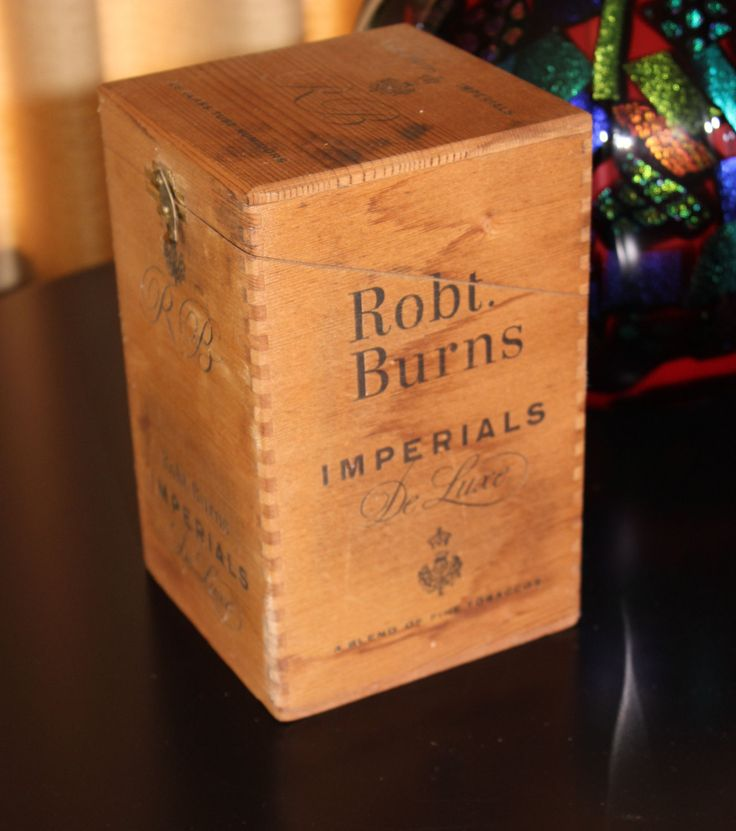 Wood Cigar Box Robert Burns Imperials Deluxe Circa 1940s Dovetail Joints Original Label Robt Burns Wooden Cigar Box Excellent Vintage Cond by PastThatLasts on Etsy