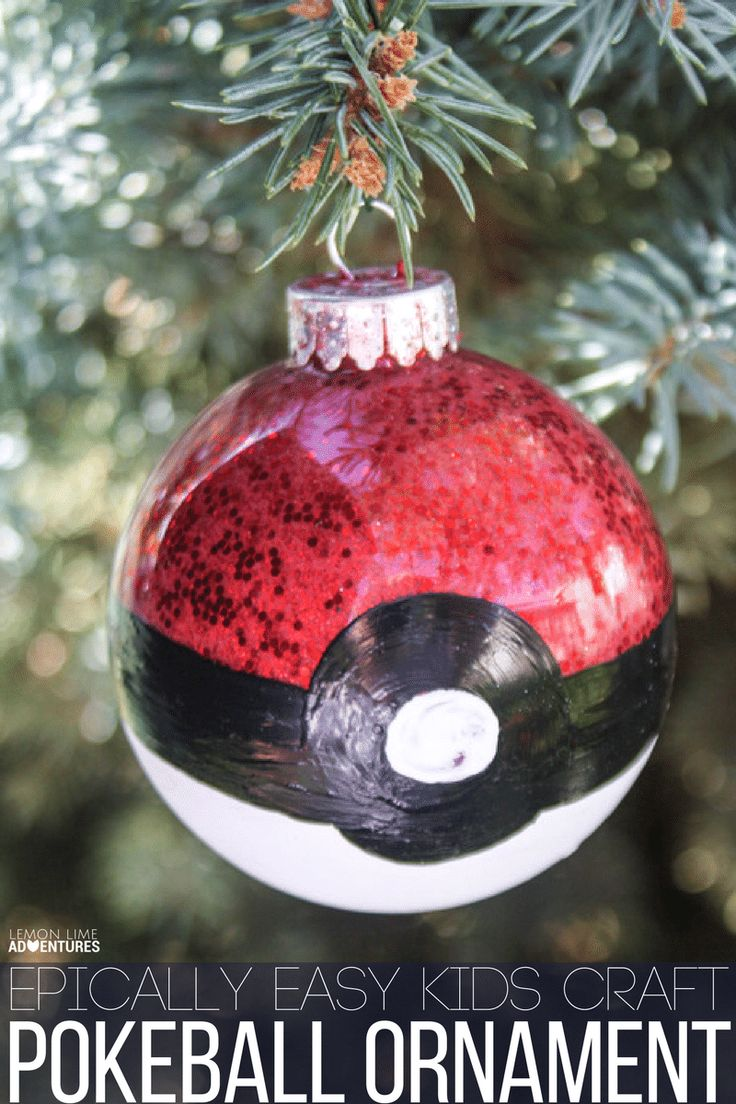 Easy christmas ornaments for kids to make - Epically Easy Homemade Pokeball Christmas Ornament