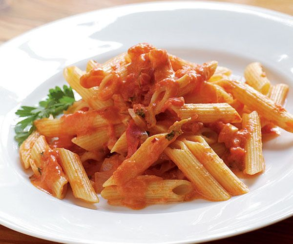 I made this last night. It was SO good and my kids loved it. Penne with Tomato Vodka Cream Sauce Recipe