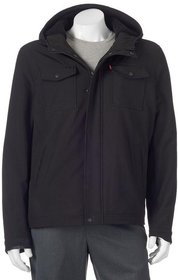 Big & Tall Levi's Softshell Sherpa-Lined Hooded Trucker Jacket