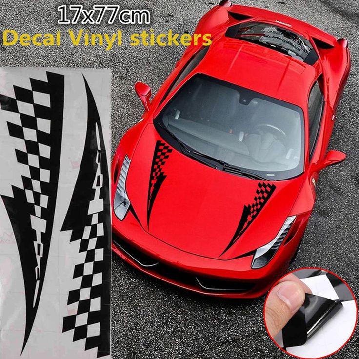 17x77cm Black Car Decal Vinyl Graphics Stickers Hood Checkered Flags Stripe  #UnbrandedGeneric