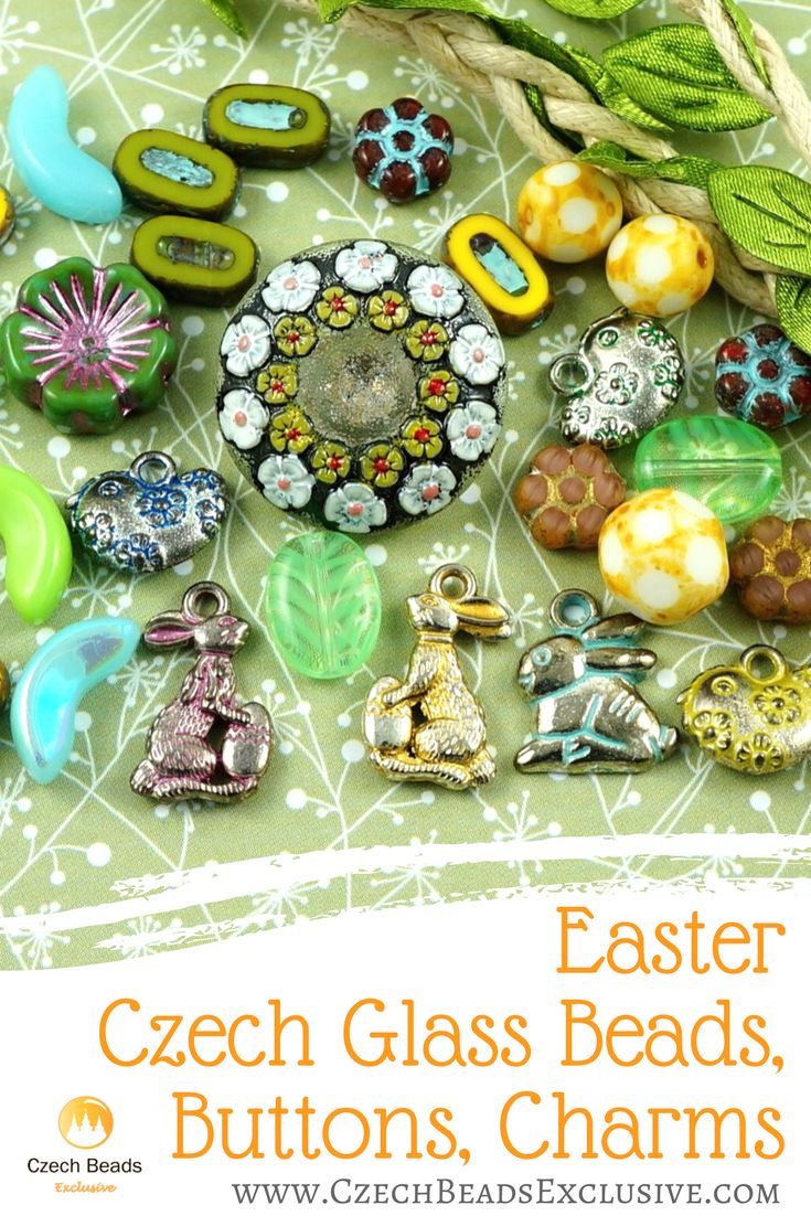 Easter Czech Glass Beads, Buttons, Charms | SAVE it! | CzechBeadsExclusive.com #czechbeadsexclusive #czechbeads