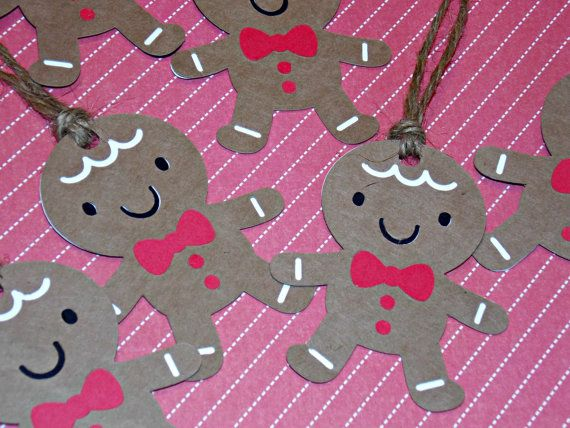 Set of 12 Christmas Gingerbread Cookie Tags/Favor by Klutterella