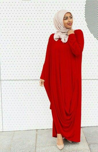 Red Kaftan + Hijab Bow