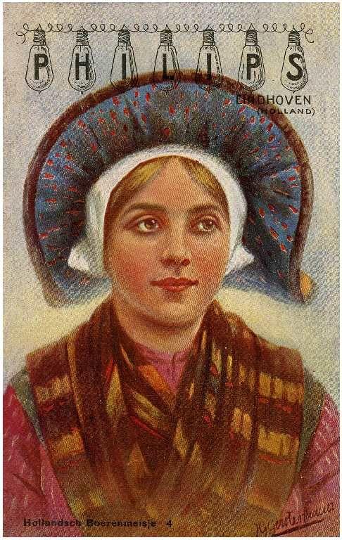 Boerenmeisjes in klederdracht ten behoeve van de promotie van Philips draadlampen. Auteur: Gerstenhauer, J.G. - 1910
