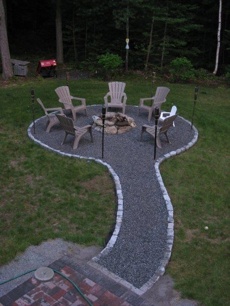 A fire pit idea...The small pebbles tom likes, but we would need the whole thing bigger. I think there are better options for edging too.