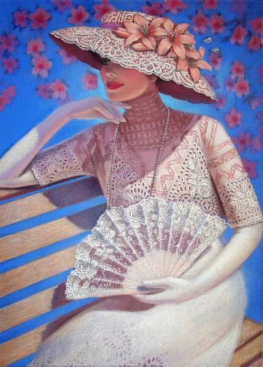 Romantic Victorian fashion lady portrait art original painting, white lace fan hat flowers & blue sky.