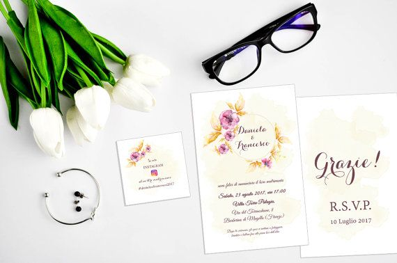 Vintage Floral Wedding Invitation set / Instagram Wedding Card / Romantic Wedding Invitation / Partecipazioni Matrimonio