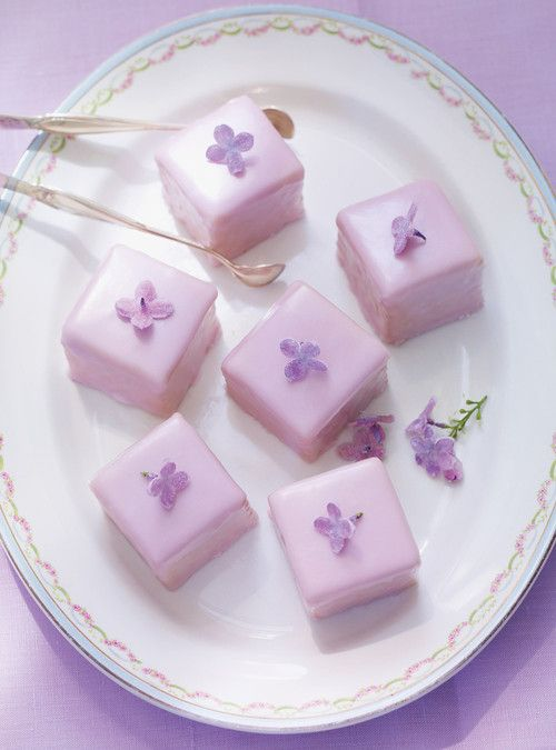 Crystallized Lilac Petits Fours (recipe) - consider replacing red/blue food dye (for icing) with creme de violette?