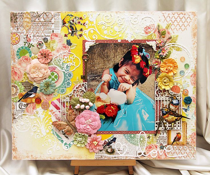 "20- x 16 inch Canvas Frame by Iris Babao Uy using Webster's Pages ""NEST"" collection and Shimmer Paints Mists and Texturez"