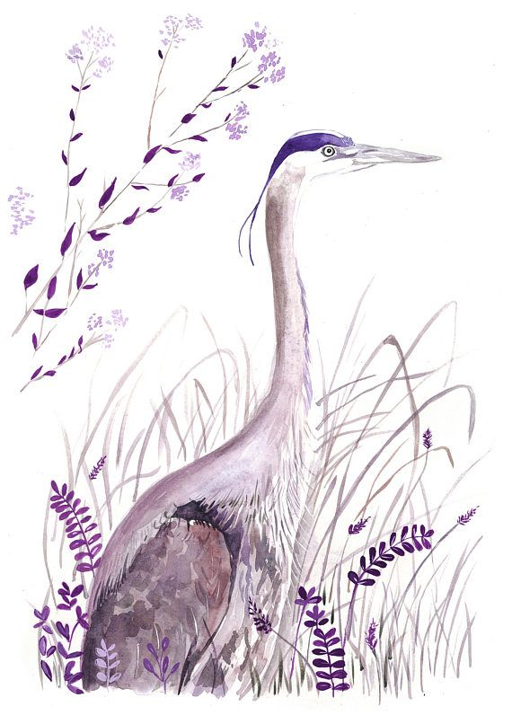 Purple bird wall art | monochrome art print | purple decor art | watercolour bird art | nursery wall art | watercolour print| heron bird art