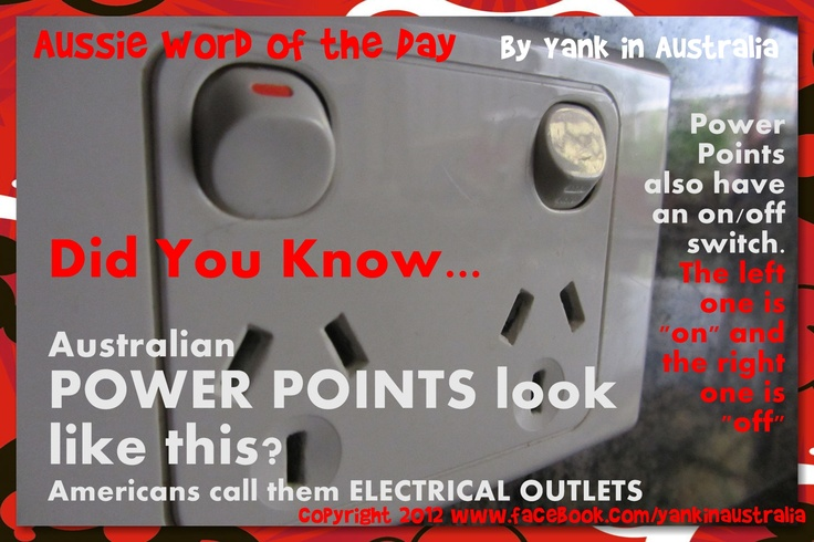 DID YOU KNOW...  Plugs look like this in Australia and have an on/off switch. #yankinaustralia #australia