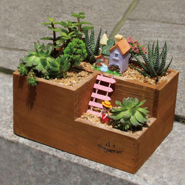 Творческий деревянной решеткой горшки для рабочего инструмент посадки суккуленты утилита Herramientas купить на AliExpress