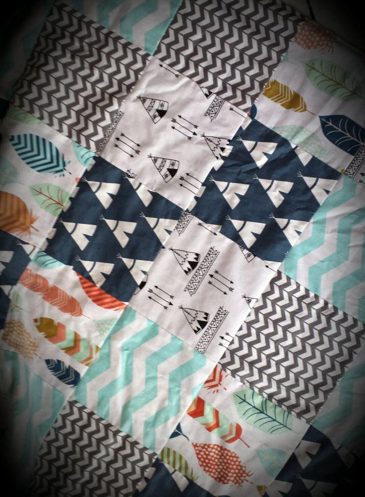 tribal baby blanket baby boy blanket feather blanket teepee blanket baby bedding