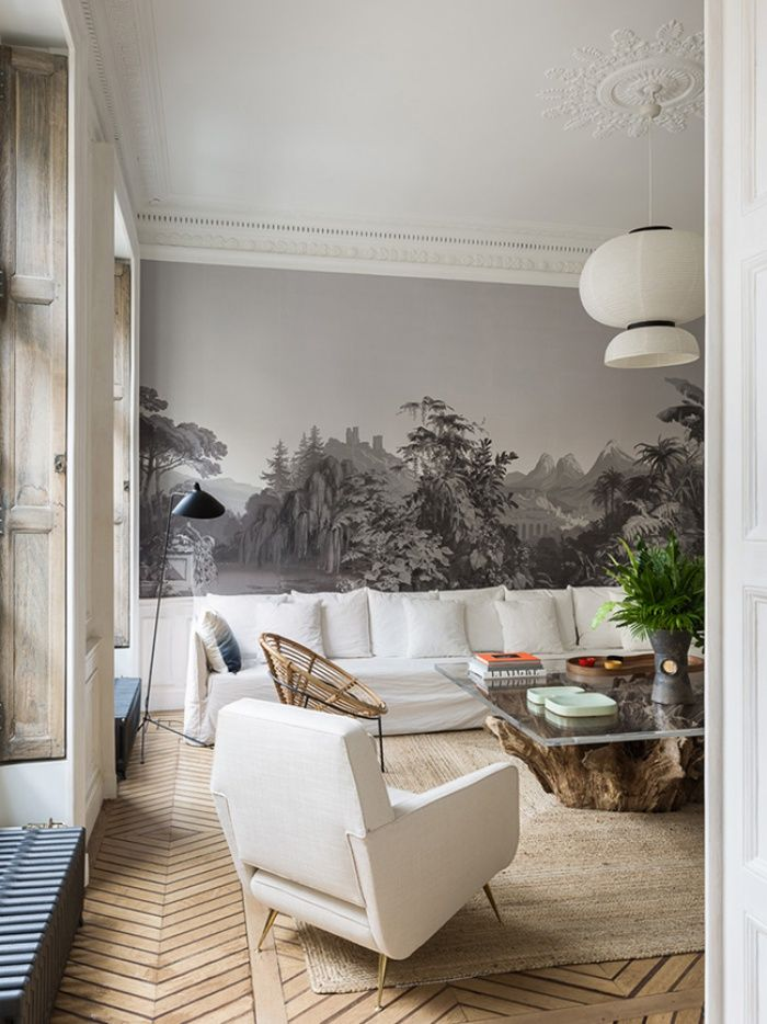 Paysage en grisaille pour la tapisserie, sol en parquet chevron