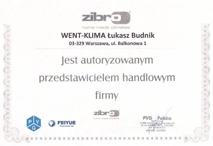 Certyfikat z firmy Zibro