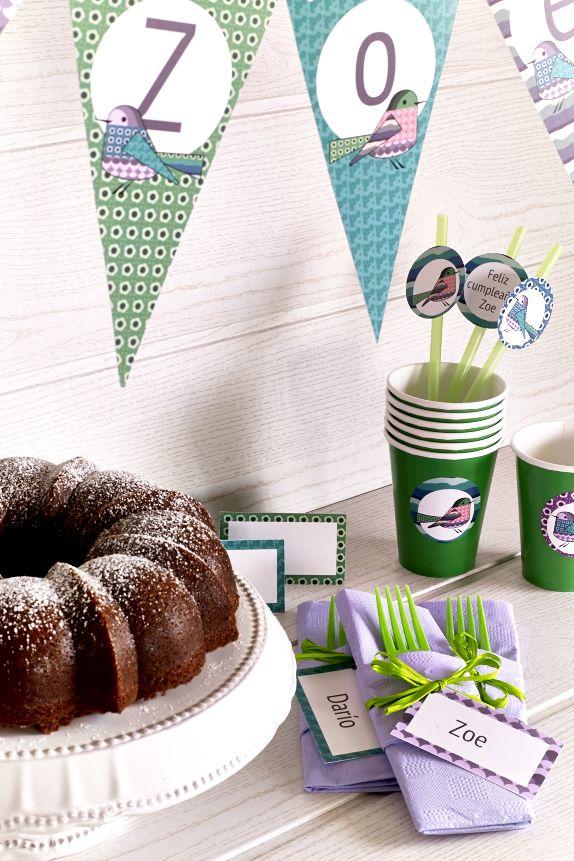 Banderines y cubiertos para el cumpleaños de Zoe
