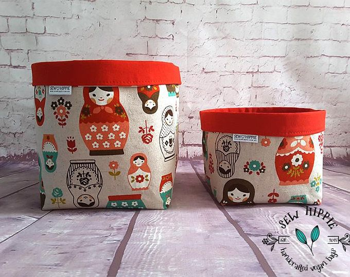 Russian Dolls Gift, Gift for Mom, Wife Gift, Gift for Grandma, Matryoshka Russian Dolls, Fabric Storage Baskets, Decorative Storage