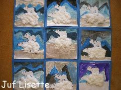 Eerst achtergrond schilderen, daarna ijsberen erop plakken.