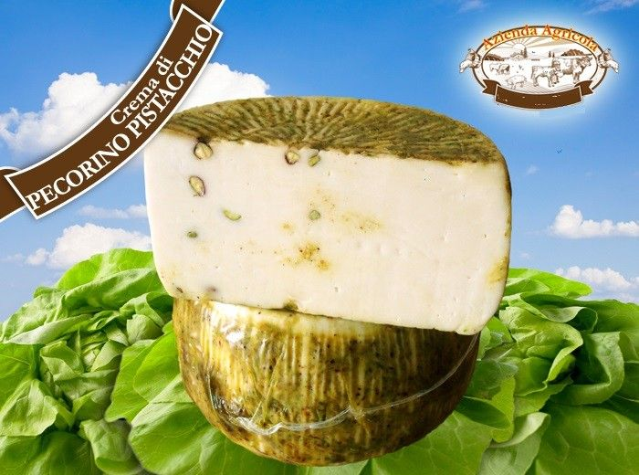Fresh White Pecorino Cheese with Pistachio Cream  Fresh and soft chesse , made with only milk from sheep and goats . Compact and  wrinkled rind dark yellow , with characteristic aroma . #fresh #sicilian #cheese #pecorino #pistachio #pistacchio #fromages #siciliens #formaggi #siciliani