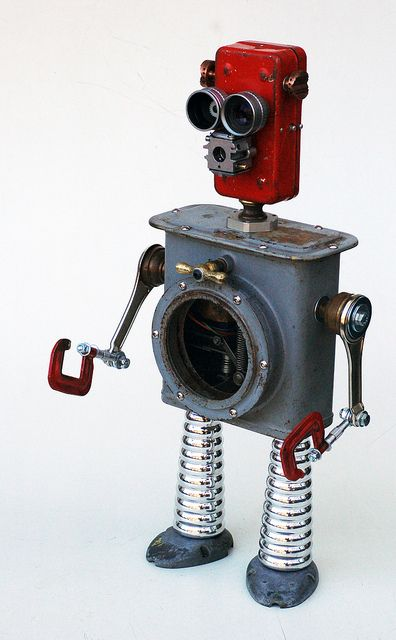 Red recycled robot by Lockwasher, via Flickr