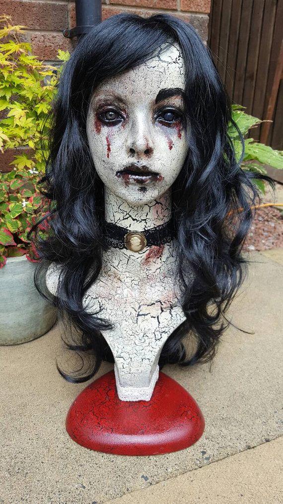 Ooak horror kunst etalagepop hoofd vreemd rare goth gore