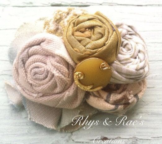 Sage Green & Ivory Rosette Fabric Flower Brooch, Women's Hair Clip, Girls Headband, Simple, Gold Button, Sage Green, Olive Green on Etsy, $15.00