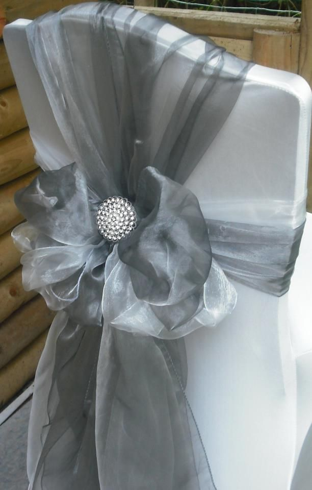 Silver Organza Chair Wrap www.tablescapesbydesign.com https://www.facebook.com/pages/Tablescapes-By-Design/129811416695