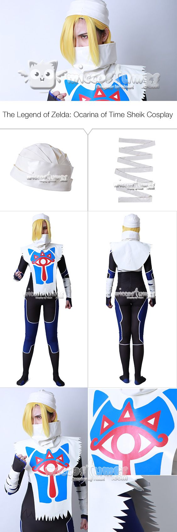 Details of The Legend of Zelda: Ocarina of Time Sheik Cosplay Costume  #miccostumes #cosplay #thelegendofzelda #ocarinaoftime #sheik #cosplaycostumes