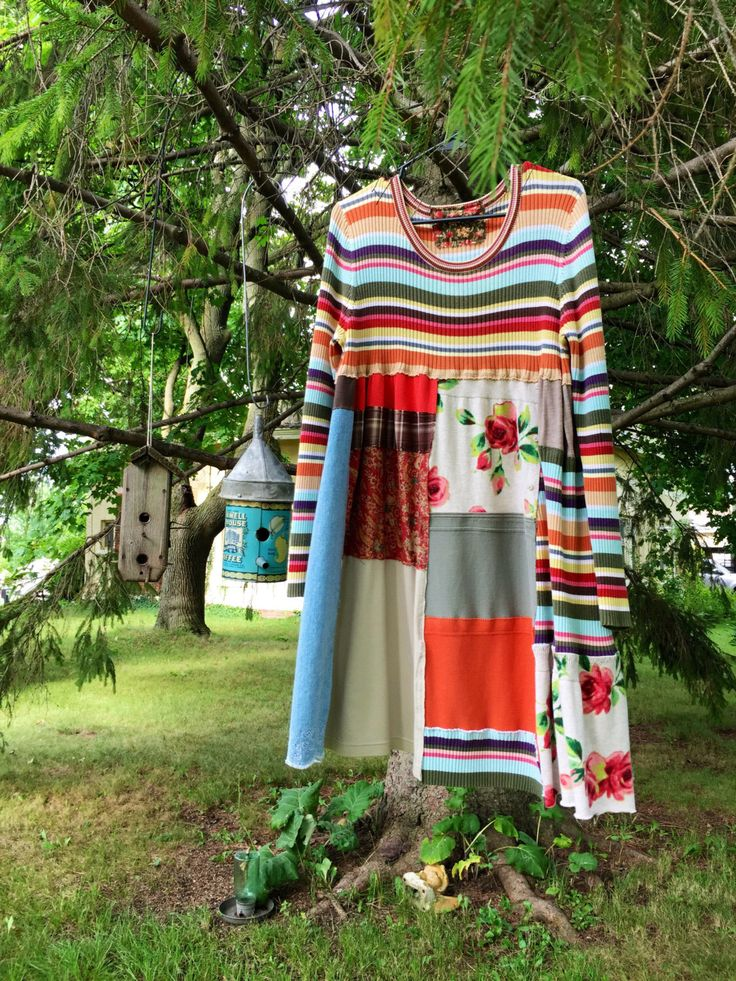 Upcycled Colorful Stripped Fall Sweater Dress , Altered Patchwork Boho Dress…