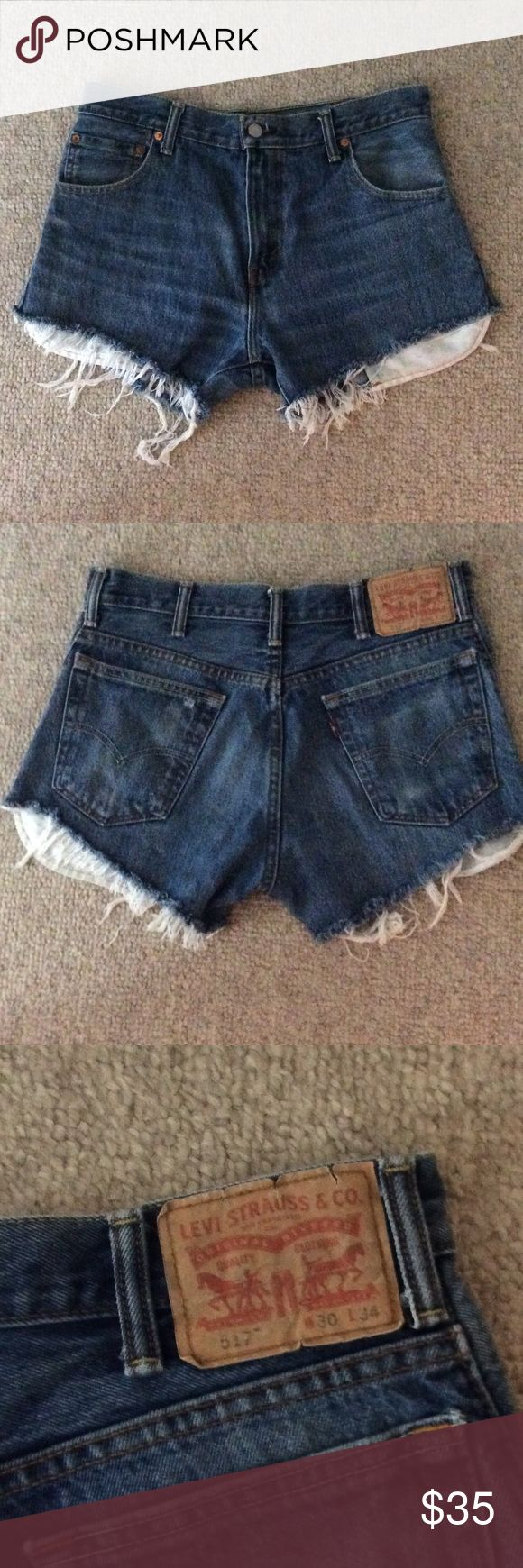 High Waisted Levi's 517 Jean Shorts Never worn frayed edge jean shorts. Size 30 Levi's Shorts Jean Shorts