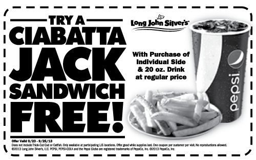 Pinned September 25th: Free ciabatta jack sandwich with your side & drink today at #Long John Silvers #coupon via The Coupons App