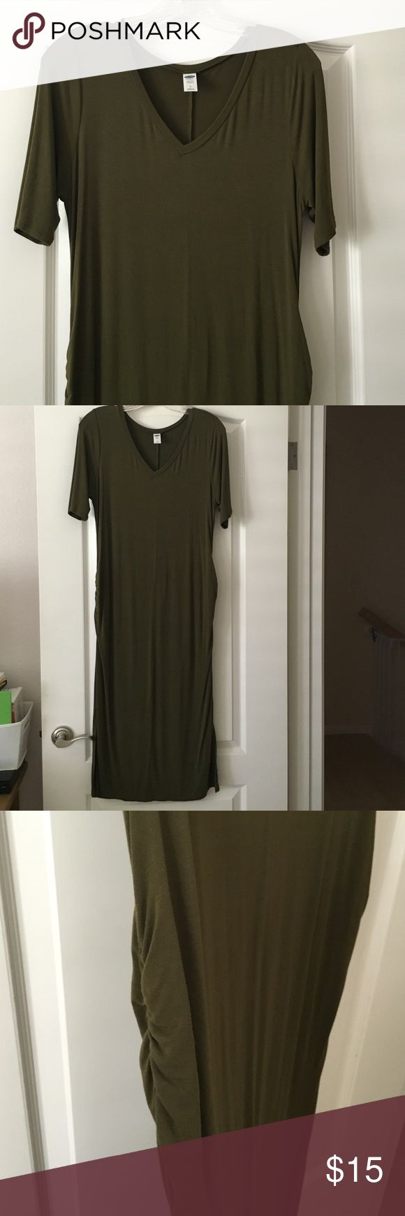 "Gap maternity dress Soft jersey fabric. Olive colored. Ruched sides. Wear at any point during pregnancy or even after. Looks great paired with ankle boots and some fun statement jewelry. Great piece for work. 46"" long. Small/modest slits run up both sides at the bottom. Old Navy Maternity Dresses Midi"